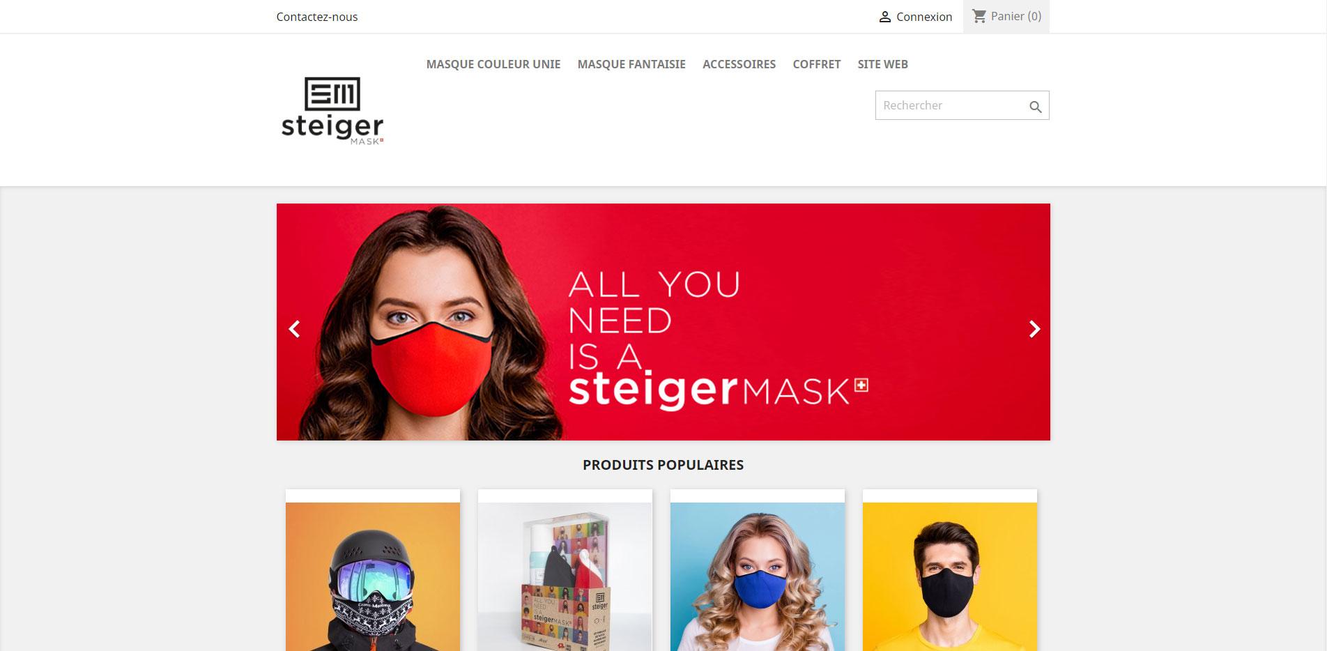 Steiger Mask Shop homepage